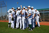 Dartmouth Big Green team huddle before a game against the Iowa Hawkeyes on February 27, 2016 at South Charlotte Regional Park in Punta Gorda, Florida.  Iowa defeated Dartmouth 4-1.  (Mike Janes/Four Seam Images)