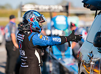 Sep 27, 2019; Madison, IL, USA; NHRA top fuel driver Antron Brown during qualifying for the Midwest Nationals at World Wide Technology Raceway. Mandatory Credit: Mark J. Rebilas-USA TODAY Sports