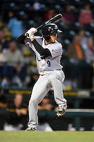 Jupiter Hammerheads catcher Austin Barnes (9) at bat during a game against the Bradenton Marauders on April 19, 2014 at McKechnie Field in Bradenton, Florida.  Bradenton defeated Jupiter 4-0.  (Mike Janes/Four Seam Images)