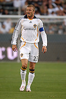 Los Angeles Galaxy's David Beckham during the first half against D.C. United in a SuperLiga semifinal match at the Home Depot Center in Carson, CA on Wednesday, August 15, 2007..