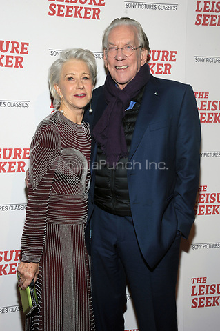NEW YORK, NY - JANUARY 11:  Helen Mirren and Donald Sutherland at The Leisure Seeker New York Screening at AMC Loews Lincoln Square in New York City on January 11, 2018. Credit: John Palmer/MediaPunch
