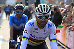World Champion Alejandro Valverde (ESP) Movistar Team arrives at sign on before the start of the 112th edition of Il Lombardia 2018, the final monument of the season running 241km from Bergamo to Como, Lombardy, Italy. 13th October 2018.<br /> Picture: Eoin Clarke | Cyclefile<br /> <br /> <br /> All photos usage must carry mandatory copyright credit (© Cyclefile | Eoin Clarke)