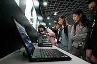 Former IBM employees that are now with Lenovo Computer get a tour of the Innovation Center at Lenovo's Beijing headquarters..