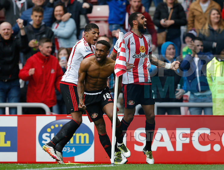 Jermain Defoe of Sunderland celebrates his winning goal during the Barclays Premier League match at the Stadium of Light, Sunderland. Photo credit should read: Simon Bellis/Sportimage
