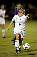 SAN ANTONIO, TX - OCTOBER 12, 2007: The Stephen F. Austin State University Ladyjacks vs. The University of Texas at San Antonio Roadrunners Women's Soccer at the UTSA Soccer Field. (Photo by Jeff Huehn)