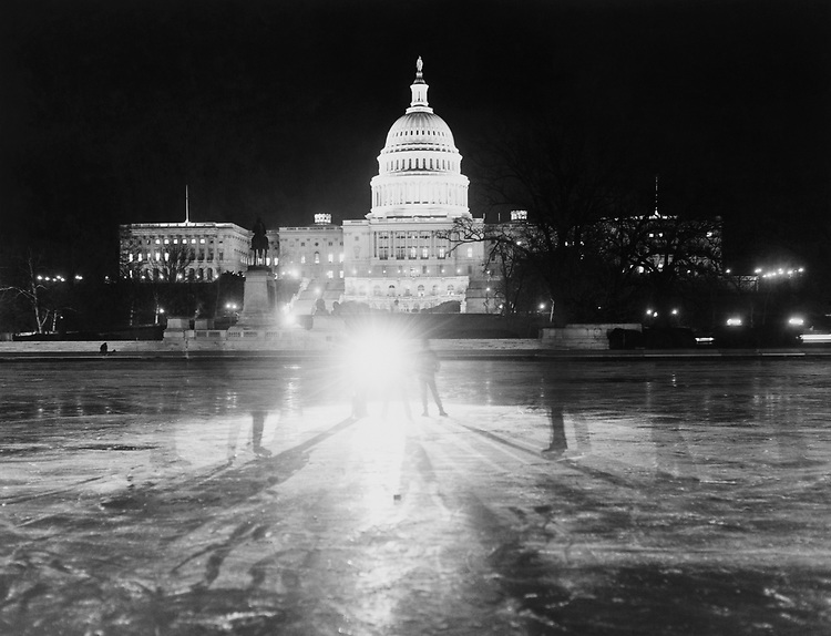 Exterior of Capitol Hill at night. (Photo by Dev O'Neill/CQ Roll Call via Getty Images)