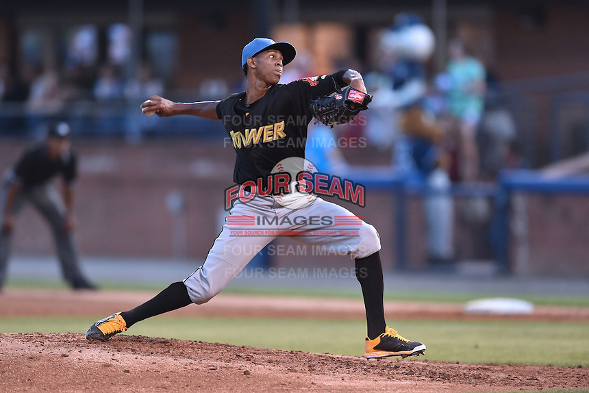 West Virginia Power pitcher Junior Lopez (19) delivers a pitch during the South Atlantic League All Star Game on June 23, 2015 in Asheville, North Carolina. The North Division defeated the South 7-5(Tony Farlow/Four Seam Images)