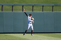 Salt River Rafters center fielder Brian Miller (10), of the Miami Marlins organization, throws to the infield during an Arizona Fall League game against the Glendale Desert Dogs at Salt River Fields at Talking Stick on October 31, 2018 in Scottsdale, Arizona. Glendale defeated Salt River 12-6 in extra innings. (Zachary Lucy/Four Seam Images)