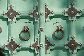 Jodhpur, India. detail of door at the Jaswant Thada mausoleum.
