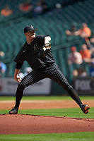 Vanderbilt Commodores starting pitcher Drake Fellows (66) in action against the Sam Houston State Bearkats in game one of the 2018 Shriners Hospitals for Children College Classic at Minute Maid Park on March 2, 2018 in Houston, Texas. The Bearkats walked-off the Commodores 7-6 in 10 innings.   (Brian Westerholt/Four Seam Images)