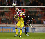 Danny Lafferty of Sheffield Utd tussles with Luke James of Bristol Rovers during the League One match at Bramall Lane Stadium, Sheffield. Picture date: September 27th, 2016. Pic Simon Bellis/Sportimage
