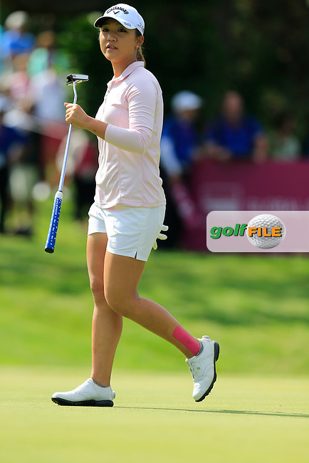 Lydia Ko (NZL) on the 13th green during Sunday's Final Round of the LPGA 2015 Evian Championship, held at the Evian Resort Golf Club, Evian les Bains, France. 13th September 2015.<br /> Picture Eoin Clarke | Golffile