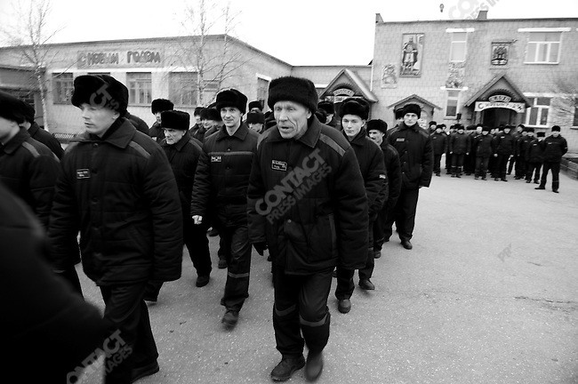 Prisoners lined up after lunch to go back to their quarters, prison colony #7 outside of Novgorod in the Novgorod region south of St. Petersburg, Russia, December 15, 2008