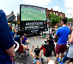 Soccer fans at the Amsterdam Tavern in St. Louis watching the broadcast of the World Cup soccer championship game between Croatia and France on Sunday July 15, 2018. The street in front of the tavern was closed and the large six by twelve foot screen set up for viewing.            Photo by Tim Vizer