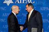 United States Secretary of Defense Leon E. Panetta is greeted by Lee Rosenberg, director of  the American Israel Public Affairs Committee, at the AIPAC's Policy Conference on Tuesday, March 6, 2012 at the Walter E. Washington Convention Center in Washington D.C..Mandatory Credit: Erin A. Kirk-Cuomo / DoD via CNP