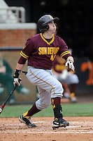 Arizona State Sun Devils designated hitter Tony DiMartino #45 swings at a pitch during a game against  the Tennessee Volunteers at Lindsey Nelson Stadium on February 23, 2013 in Knoxville, Tennessee. The Volunteers won 11-2.(Tony Farlow/Four Seam Images).