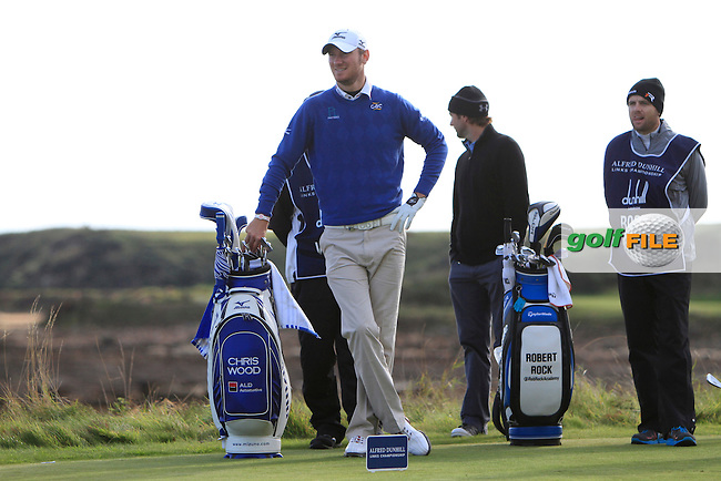 Chris Wood (ENG) and Robert Rock (ENG) during Round 1of the Alfred Dunhill Links Championship at Kingsbarns Golf Club on Thursday 26th September 2013.<br /> Picture:  Thos Caffrey / www.golffile.ie