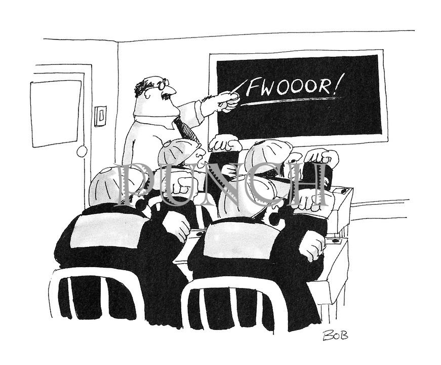 "(Workmen in classroom being taught the word ""Fwooor"" with corresponding hand gestures)"