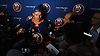Robin Lehner #40 of the New York Islanders speaks with reporters during the organization's Media Day at Northwell Health Ice Center in East Meadow on Thursday, Sept. 13, 2018.