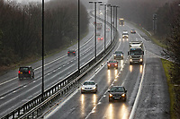 Pictured: Cars travel eastbound on the M4 motorway near Port Talbot, south Wales, UK. Wednesday 20 December 2017<br /> Re: The Christmas getaway has begun with motorists advised to set off early.<br /> Wednesday through to Friday were believed to be the busiest days on the roads as motorists bid to avoid a weekend rush.<br /> Airports and railways are also expected to be busy.