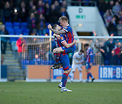 24th March 2018, McDiarmid Park, Perth, Scotland; Scottish Football Challenge Cup Final, Dumbarton versus Inverness Caledonian Thistle; Goalscorer Carl Tremarco of Inverness Caledonian Thistle celebrates with Iain Vigurs at the final whistle