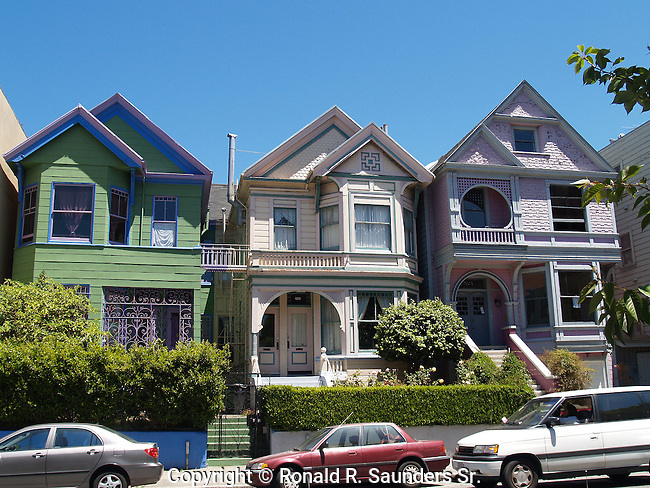 ROW of VICTORIAN HOMES UNIQUE for its (colorful) COLOURFUL,PASTEL EXTERIORS, and TYPICALLY SEEN in SAN FRANCISCO, CALIFORNIA (2)<br /> AKA: PAINTED LADIES