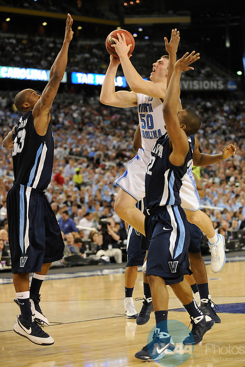 2009 APR 04: Foward Tyler Hansbrough (50) of the University of North Carolina puts up a shot in front of Dante Cunningham (33) and Dwayne Anderson (22) of Villanova University during the semifinal game of the 2009 Men's Final Four Division I Basketball Championships held at Ford Field in Detroit, MI. North Carolina defeated Villanova 83-69 to advance to the championship game. Photo: Ryan McKee/NCAA Photos