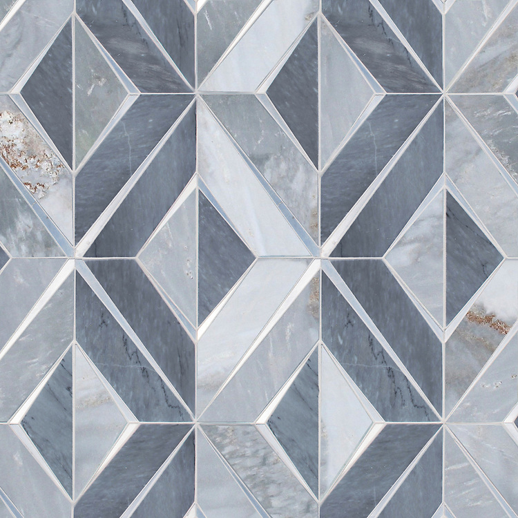 Simone, a waterjet stone mosaic, shown in polished Bardiglio and Argent Blue with Aluminum, is part of the Trove® collection for New Ravenna.