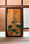 Kyoto, June 27 2013 - Decoration on the doors of the lower villa (Jugetsukan) at Shugakuin Imperial villa
