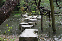 The stepping stones (sawatari-ishi) are a famous feature of the gardens of the Heian Shrine
