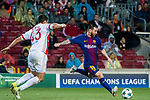 Lionel Andres Messi (r) of FC Barcelona is tackled by Dimitris Nikolaou of Olympiacos FC during the UEFA Champions League 2017-18 match between FC Barcelona and Olympiacos FC at Camp Nou on 18 October 2017 in Barcelona, Spain. Photo by Vicens Gimenez / Power Sport Images