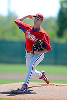 Philadelphia Phillies pitcher Jordan Guth (50) during a minor league Spring Training game against the New York Yankees at Carpenter Complex on March 21, 2013 in Clearwater, Florida.  (Mike Janes/Four Seam Images)