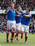 Lee McCulloch celebrates his goal with Seb Faure and Fraser Aird