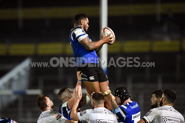 Levi Douglas of Bath United wins the ball at a lineout. Premiership Rugby Shield match, between Bath United and Gloucester United on April 8, 2019 at the Recreation Ground in Bath, England. Photo by: Patrick Khachfe / Onside Images