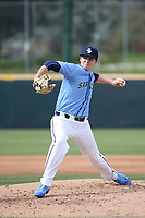 Chris Murphy (8) of the University of San Diego Toreros pitches against the UCLA Bruins at Jackie Robinson Stadium on March 4, 2017 in Los Angeles, California.  USD defeated UCLA, 3-1. (Larry Goren/Four Seam Images)
