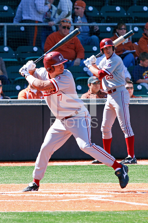 AUSTIN, TEXAS-March 5, 2011:  Left fielder Tyler Gaffney of Stanford prepares to swing during the game against the Texas Longhorns, at Disch-Falk field in Austin, Texas.  Stanford defeated Texas 9-2.