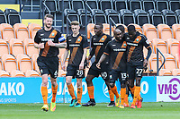 David Tutonda of Barnet (3rd left) celebrates after he scores his team's second goal of the game to make the score 2-0 during the Sky Bet League 2 match between Barnet and Grimsby Town at The Hive, London, England on 29 April 2017. Photo by David Horn.