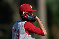Indiana Hoosiers starting pitcher Kyle Hart (14) looks in for the sign during a game against the Illinois State Redbirds on March 4, 2016 at North Charlotte Regional Park in Port Charlotte, Florida.  Indiana defeated Illinois State 14-1.  (Mike Janes/Four Seam Images)