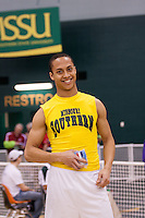 Missouri Southern freshman Jeff Fraley smiles on the awards stand after receving his third place medal in the 60 meter dash at the 2012 MIAA Indoor Track & Field Championships ata Missouri Southern in Joplin, Sunday, February 26.