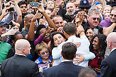 United States President Barack Obama greets supporters after delivering remarks during a campaign event at George Mason University in Fairfax, Virginia on Friday, October 19, 2012..Credit: Kristoffer Tripplaar  / Pool via CNP