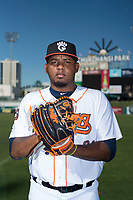 Fresno Grizzlies starting pitcher Rogelio Armenteros (29) poses for a photo before a Pacific Coast League game against the Salt Lake City Bees at Chukchansi Park on May 14, 2018 in Fresno, California. Fresno defeated Salt Lake City 4-3. (Zachary Lucy/Four Seam Images)