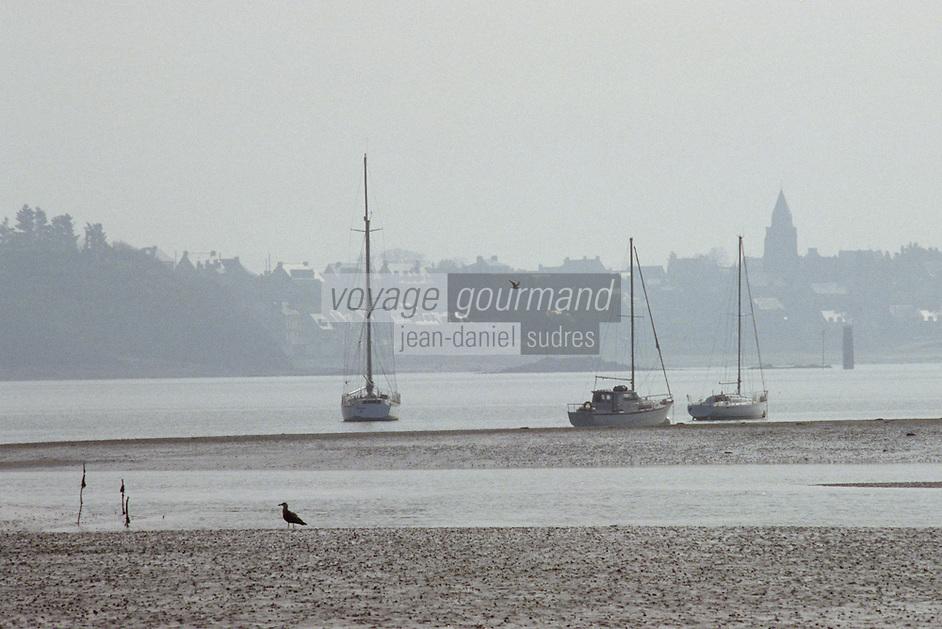 Europe/France/Bretagne/Ille et Vilaine/Saint Suliac: le village et son port sur l'estuaire de la Rance