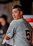 26 September 2018: Miami Marlins pitcher Wei-Yin Chen in the dugout during a game against the Washington Nationals at Nationals Park in Washington, DC. The Nationals defeated the visiting Marlins 9-3, closing out Washington's 2018 home season. Mandatory Credit: Ed Wolfstein Photo *** RAW (NEF) Image File Available ***