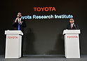November 6, 2015, Tokyo, Japan - Dr. Gill Pratt, a former Defense Advanced Research Projects Agency program manager, speaks during a news conference at a Tokyo hotel on Friday, November 6, 2015. Dr. Pratt will head Toyotas new research and development center in Californias Silicon Valley. The worlds largest automaker will invest one billion dollars over the next five years to the Toyota Research Institute to focus on artificial intelligence and robotics. Toyota President Akio Toyoda is at right. (Photo by Natsuki Sakai/AFLO) AYF -mis-