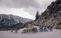 yellow jersey descending in the pack<br /> <br /> 76th Paris-Nice 2018<br /> stage 6: Sisteron &gt; Vence (198km)