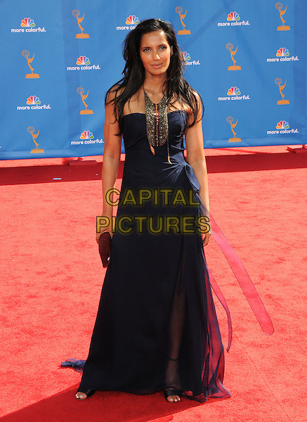 PADMA LAKSHMI.The 62nd Annual Primetime Emmy Awards held at Nokia Theatre L.A. Live in Los Angeles, California, USA 29th August 2010.full length black maxi dress navy blue pink sheer halterneck gold strapless .CAP/RKE/DVS.©DVS/RockinExposures/Capital Pictures.