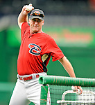 10 July 2008: Arizona Diamondbacks' Manager Bob Melvin throws batting practice prior to a game against the Washington Nationals at Nationals Park in Washington, DC. The Diamondbacks defeated the Nationals 7-5 in 11 innings to take the rubber match of their 3-game series in the Nation's Capitol...Mandatory Photo Credit: Ed Wolfstein Photo