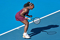 12th January 2020, Auckland, New Zealand;  Serena Williams (USA) shows frustration at her shot making against Jessica Pegula (USA) during the Women's singles final at the 2020 Women's ASB Classic at the ASB Tennis Centre, Auckland, New Zealand.