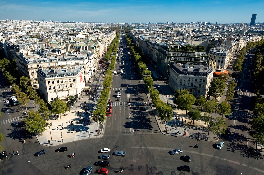 Avenue des Champs-Élysées and Avenue Marceau (r) viewed from the roof of the Arche de Triomphe.