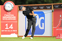 Thomas Bjorn (DEN) tees off the 14th tee during Thursday's Round 1 of the 2017 Omega European Masters held at Golf Club Crans-Sur-Sierre, Crans Montana, Switzerland. 7th September 2017.<br /> Picture: Eoin Clarke | Golffile<br /> <br /> <br /> All photos usage must carry mandatory copyright credit (&copy; Golffile | Eoin Clarke)